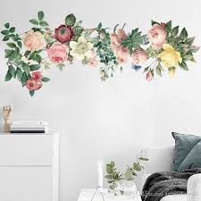 Colorful Flowers With Green Leaves Wall Decal Home Decor Art Living Room Bedroom Self Adhesive Simulation Flowers Wall Applique Custom Vinyl Wall Decals Custom Wall Decal From Magicforwall 7 92 Dhgate Com