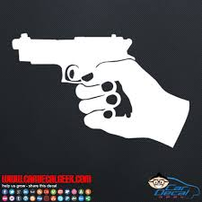 Hand Holding Gun Pistol Car Window Decal Sticker Graphic