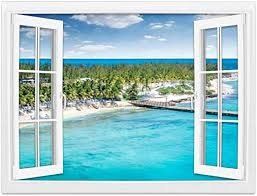 Amazon Com Creative Window Wall Sticker Wall Mural Aerial View Of Grand Turk Island Exotic Caribbean Island Stock Self Adhesive Removable Wall Decal Posters Home Wall Art Decor For Living Room 24x36 Inch