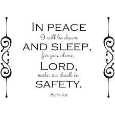 In Peace I Will Lie Down And Sleep Psalms 4 8 Scripture Decal Divine Walls