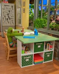 Kids Craft Table Great Idea For A Large Table In Playroom Move Bookcases To Ends So No Unsafe Corners Maybe Add Kids Craft Tables Kids Art Table Craft Table