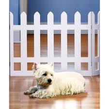 Picket Fence Wood Pet Gate Freestanding Tri Fold Dog Fence For Doorways White 42 W X 19 H Walmart Com Walmart Com