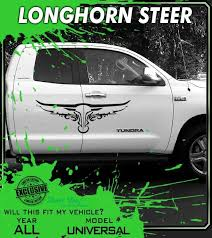 Longhorn Car Truck Texas Longhorn Garage Steer Wall Graphics Door Decals Premium Vinyl Decal Kit Truck Graphics Car Stripes Wall Graphics
