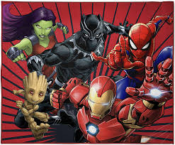 Amazon Com Marvel Avengers Full Assault Kids Room Rug Large Area Rug Measures 4 X 5 Feet Featuring Spiderman Iron Man Black Panther Gamora Groot Offical Marvel Product Home Kitchen