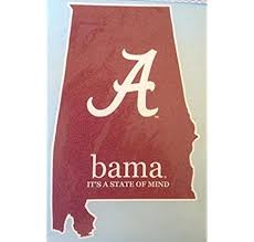 Amazon Com Bama It S A State Of Mind Car Decal Alabama Crimson Tide Auto Window Sticker Kitchen Dining