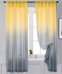 Amazon Com Yancorp 2 Panel Sets Bedroom Curtains 63 Inch Length Sheer Curtain Kids Linen Sunflower Yellow Grey Ombre Gray Girls Living Room Tan Kids Kitchen Window 63 72 84 96 Inches Long