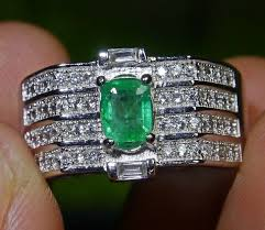 natural octagon emerald jewelry ring