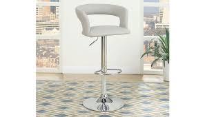 kori grey leather bar stool set of 2