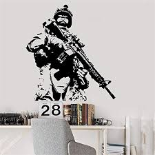 Amazon Com Fioils Vinyl Wall Decal Quote Stickers Home Decoration Wall Art Mural Us Soldier Wall Decor Marine Army Military Guaranteed Home Kitchen