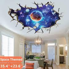 Outer Space Themed 3d Wall Sticker Universe Scene With Planets Stars Starry Sky Kids Bedroom Ceiling Living Room Nursery Sticker Decor Walmart Com Walmart Com