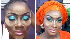 gele and makeup on dark skin model