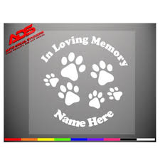 In Loving Memory Dog Paw Print Car Vinyl Window Decal Sticker Etsy