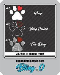 Bling Paw Print Decal Rhinestone Paw Print Puppy Bling Rhinestone Decal Car Decal Rhinestone Sticker Paw Print Decal Print Decals Rhinestone Decal