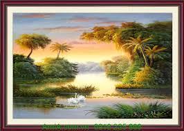 Tranh phong cảnh thiên nhiên đẹp nắng mai  AmiA.com.vn