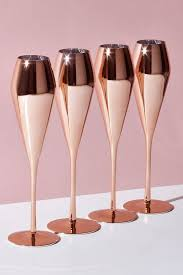 next set of 4 metallic champagne flutes
