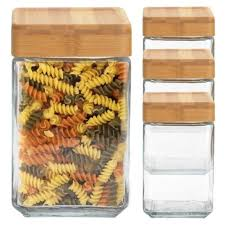 glass jars container bamboo lid