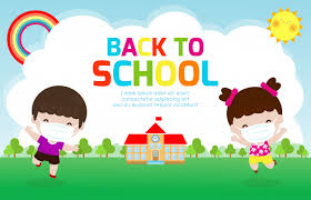 Back to school for new normal lifestyle concept. happy kids ...