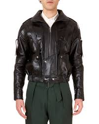 zip front calf leather jacket