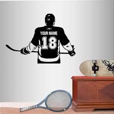 Amazon Com Wall Vinyl Decal Home Decor Art Sticker Hockey Player Sport Ice Rink Custom Personalized Name Boy Kids Room Removable Stylish Mural Unique Design 2805 Handmade