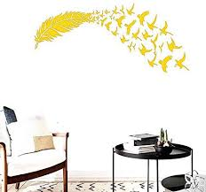 Amazon Com Bibitime Vinyl Flying Birds Feather Wall Stickers Decals Living Room Background Pvc Decoration Wallpaper Home Art Mural Bedroom Office Children Kids Room Decor Right Yellow Diy Finished 62 X 66 Home