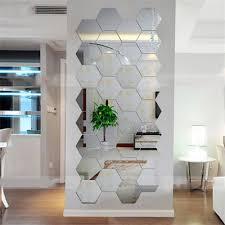 12pcs 3d Mirror Hexagon Vinyl Removable Wall Sticker Decal Home Decor Art Diy Unbranded Mirror Wall Living Room Living Room Mirrors Wall Stickers Home Decor