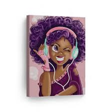 Smile Art Design Purple Haired African American Girl Earphones Pink Background Digital Painting Canvas Print Nursery Kids Room Wall Art African Art Home Decor Ready To Hang Made In Usa 12x8