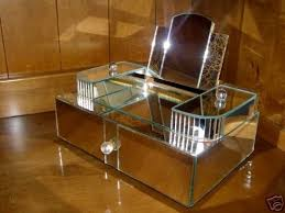 vintage mirrored jewelry box rhinestone