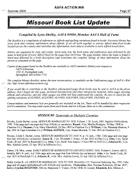 Missouri Book List Update