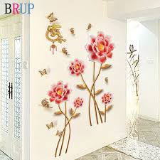 145 115cm Red Flower Wall Stickers Large Home Decor For Living Room Bedroom Beautiful Wall Decal Vinyl Diy Mural Room Decoration Wall Stickers Aliexpress