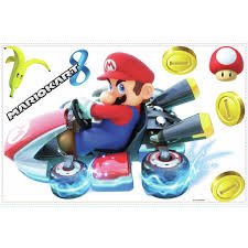 Licensed Nintendo Giant Mario Kart 8 Wall Decals Room Decor Stickers Video Game Coins New Walmart Com Walmart Com