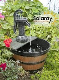 hand pump barrel water feature fountain