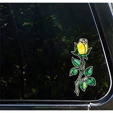 Amazon Com Rosebud On Long Stem W Thorns Rose Stained Glass Style Vinyl Decal For Car Truck Outdoor Use Yadda Yadda Design Co 3 W X 7 H Color Choices Yellow