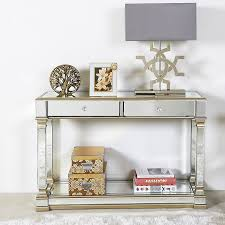 athens gold mirrored 2 drawer console