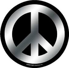 Chrome Black Peace Sign Sticker