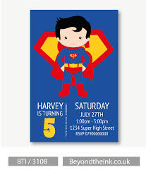Personalised Superman Invitations Printed On Professional 300 Gsm Smooth Card With Free Envelopes Delivery As Standard Www Beyondtheink Invitaciones De Superman Invitaciones De Batman Y Cumpleanos De Superman