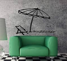Amazon Com Vinyl Decal Beach Style Chaise Lounge Umbrella Vacation Unique Wall Decal And Stick Wall Decals Kitchen Dining