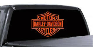 Harley Davidson Rear Window Decal Truck Car Trailer Orange Size 14 25 X 11 Ebay