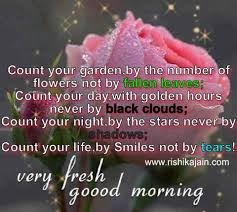 good morning quote count your garden by the number of flowers not