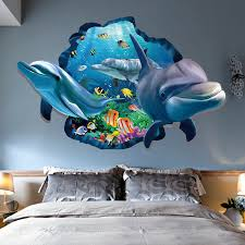 Kids Bedroom 3d Dolphin Wall Stickers Background Cartoon Room Decals Fish Decor For Sale Online