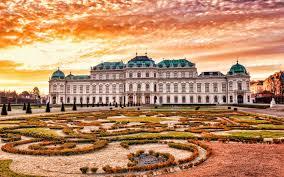تحميل خلفيات Belvedere فيينا مجمع القصر مساء غروب الشمس فيينا