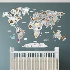 Kids World Map Sticker Educational Childrens Wall Decal Etsy In 2020 Kids World Map World Map Sticker Childrens Wall Decals