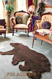 faux fur fabric bear skin rug grizzly