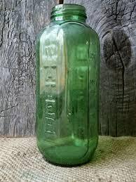 vintage green glass water juice bottle