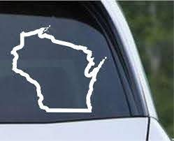 Wisconsin State Outline Wi Usa America Die Cut Vinyl Decal Sticker Decals City