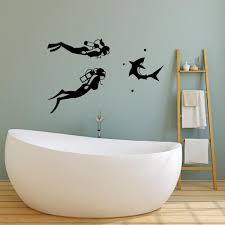 Vinyl Wall Decal Diving Scuba Diver Aqualunger Shark Stickers 3215ig Wallstickers4you