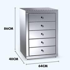 grey mirrored 5 drawer tallboy chest