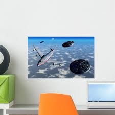 Commerical Flight Boeing 747 Black Ufos Wall Decal Wallmonkeys Com
