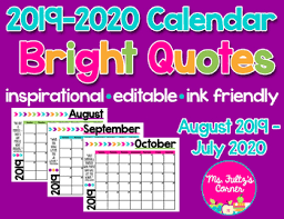editable calendars bright quotes by msfultzscorner tpt