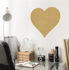 Large Metallic Gold Or Silver Heart Vinyl Wall Decal
