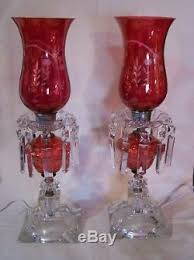 2 antique crystal cut glass table lamps
